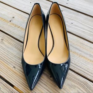 Michael Kors Navy Patent Stiletto Kitten Heels